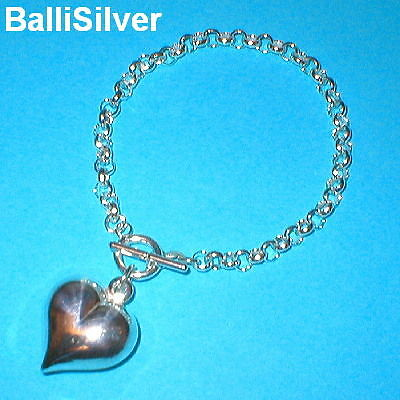 4 St. Silver ROLO Chain 22mm HEART Toggle BRACELETS Lot