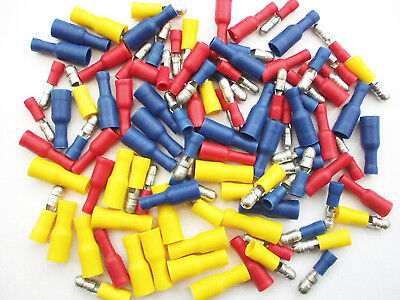 Male and Female Bullets.. Red, Blue & Yellow Crimp Terminals Connectors 100 Pack