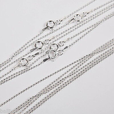 10 Sterling Silver 1.2mm BALL Chain Necklaces Lot 16.5""