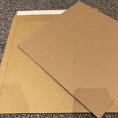 """50 12"""" Peel+Seal All Board Brown Record Mailers +100 Stiffeners+Free24H"""