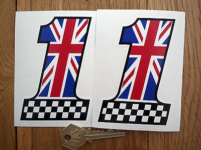 Vehicle Parts & Accessories Stickers, Emblems & Flags UK UNION JACK Chequered No 1 Car Motorcycle Van Stickers Decals 2 off 102mm