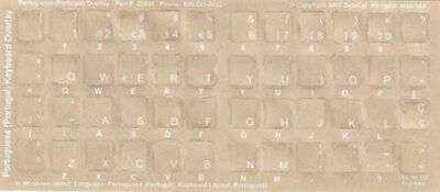 Portuguese Keyboard Stickers Reverse Print White Letter