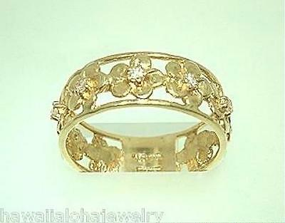 7mm Hawaiian 14k Yellow Gold High Polish 9 Plumeria Flower CZ Ring 7.0