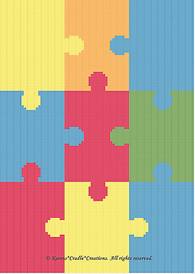 Free Crochet Pattern - Jigsaw Puzzle Afghan from the