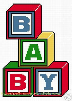 Crochet Patterns-BABY BLOCKS Color Graph Afghan Pattern