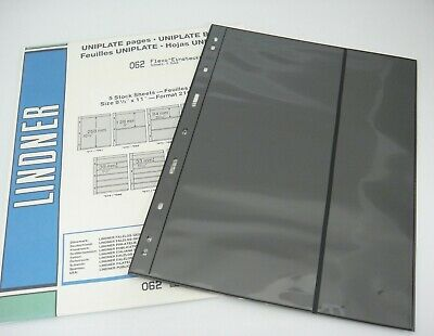 Lindner Uniplate Black Stock Sheets  2 Vertical Strips Pockets #62 5 Pages