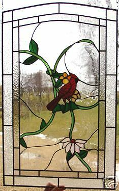 """3 Song Bird Leaded Stained Glass Windows 33""""h X 24""""w"""