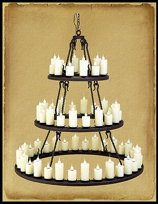 Ch2710 : Hand Crafted 3 Tier Wrought Iron Chandelier