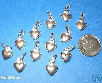 12 St. Silver Small HEART Charm Pendants Wholesale Lot
