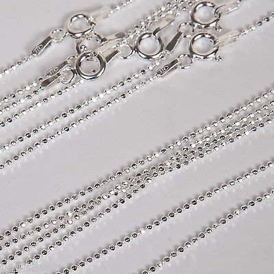 """100 pcs 16"""" 18"""" 20"""" Sterling Silver 925 DIAMOND CUT 1.2mm BALL Chain Necklaces"""