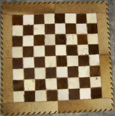 """Chess Board Natural Cowhide Suede Back 20"""" w/ 2"""" sq NEW"""