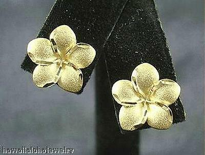 6mm Hawaiian Solid 14k White Gold DC Matted Plumeria Huggie Earrings #2H
