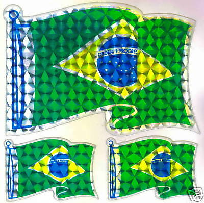 Brazil República Federativa do, TriFlag Sticker LOT NEW
