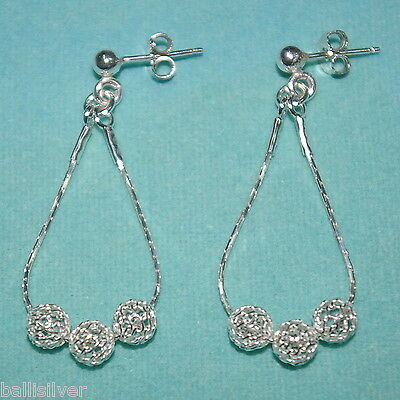 3 pairs 925 Sterling Silver 6mm MESH NET BEAD Earrings Lot. Handmade Real Silver