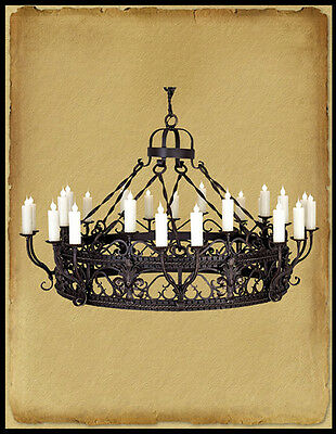 Ch6003 : 21 Light Hand Crafted Wrought Iron Chandelier