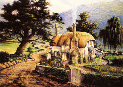 English Cotswold or Irish Thatched Bakers Cottage Matted HAND SIGNED by Souders