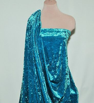 """Crushed Stretch Velvet Turquoise.. 60"""" Wide, Clothing, Decor, Costumes"""