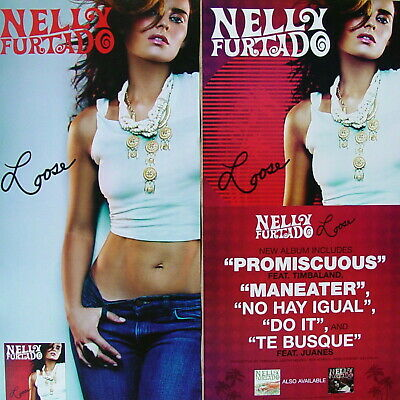 NELLY FURTADO Loose PROMO TwoSide Poster PROMISCUOUS Maneater TIMBALAND Rare NEW