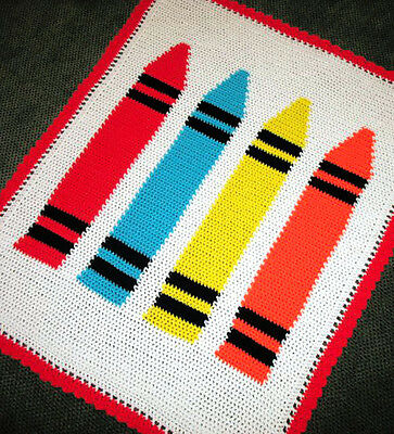 Crochet Patterns - CRAYONS Color Graph BABY Afghan Pattern **EASY