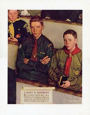 Norman Rockwell Boy Scout Print SCOUT IS REVERENT 1954