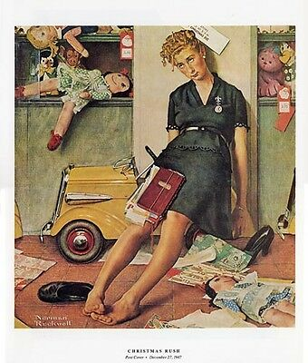 """Norman Rockwell print  /""""SORTING THE MAIL/"""" postal clerk post office postal 2sizes"""