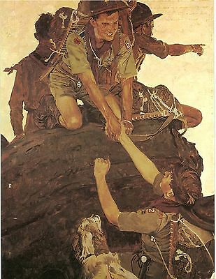 Norman Rockwell BSA Boy Scout Print ALL TOGETHER 1947