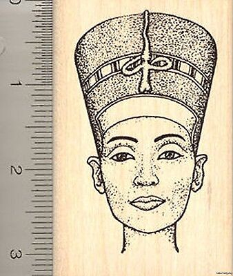 Egyptian Queen Nefertiti Rubber Stamp, Wife Consort of Pharaoh Akhenaten K901 WM