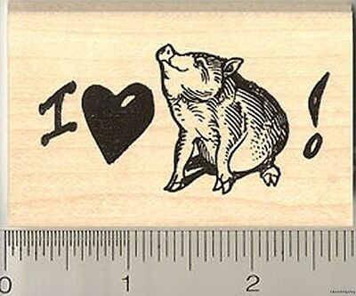 I love my Pot belly Pig Rubber Stamp H7815 WM bellied