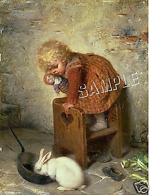 VICTORIAN Girl RABBIT Doll *CANVAS* Art ~ LARGE 13x19