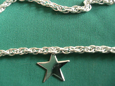 925 STERLING SILVER ROPE FANCY LINK CHAIN ANKLET with STAR