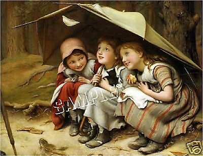 3 Vintage VICTORIAN Girls CAT Kitten *CANVAS* Art LARGE
