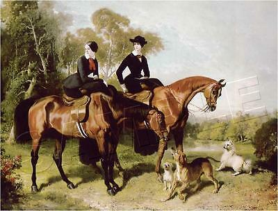 2 Ladies Riding Sidesaddle Equestrian Canvas Art Print