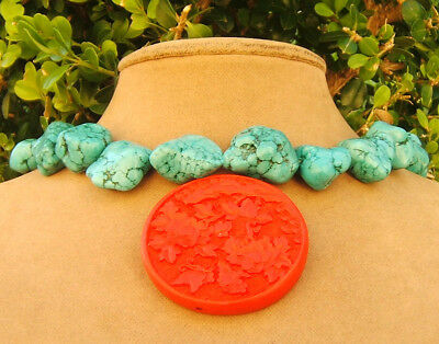 TURQUOISE FREEFORM JEWELRY NECKLACE red ASIAN RISING SUN CARVED CINNABAR PENDANT