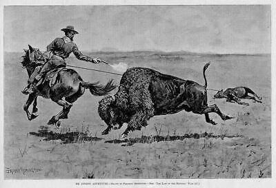 Remington Buffalo Cowboy Shooting Buffalo Lassoing Calf