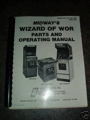Original* Midway Wizard Of Wor *operation Manual*1981*