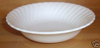 Unmarked Ivory Pottery White Swirl Cereal Bowl