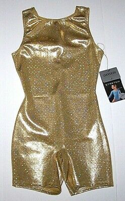 Nwt New Danskin Biketard Unitard Gold Diamonds Hologram Bike Leg Cute Girl I 6 7