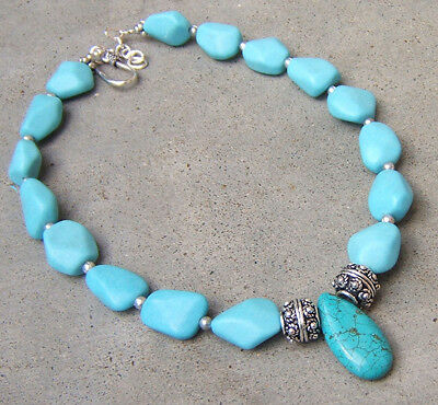 Turquoise Pendant Necklace German Silver Bali Beads Aqua Beaded Gemstone Jewelry