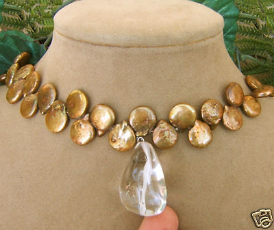 Bronze Tahitian Coin Pearl Necklace Big Icy Clear Quartz Winter Frost Pendant