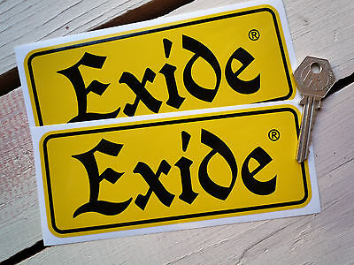 """EXIDE Old Style Battery STICKERS 6"""" Pair Classic Motorcycle Car Bike Restoration"""