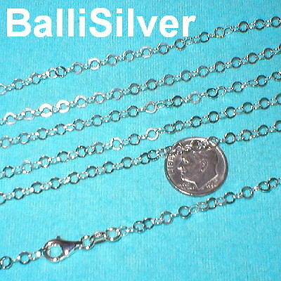 3 St. Silver 4mm Flat Circles Chain NECKLACES Lot 18""