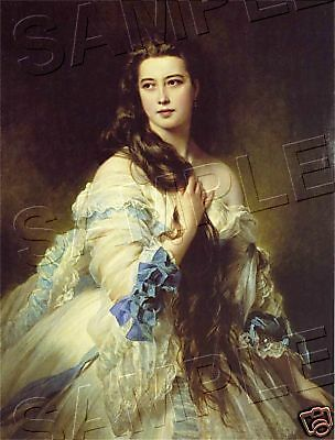 "Beautiful VICTORIAN Lady LONG HAIR CANVAS Giclee Art Print - LARGE 13"" x 19"""