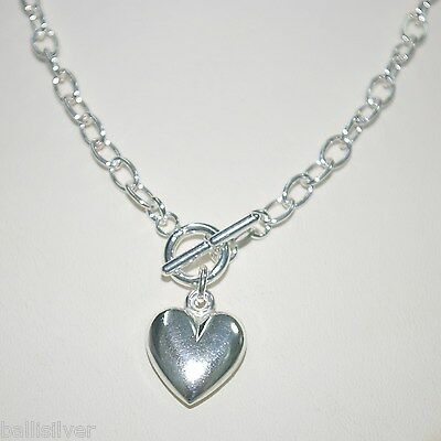 "20"" 50cm Sterling Silver 925 Cable Chain HEART Charm Pendant Toggle NECKLACE"