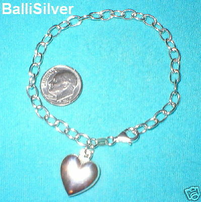 3 St Silver Thick Cable Chain HEART Charm BRACELETS Lot