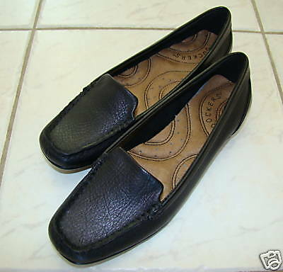 884589d01357 NEW DOCKERS Womens Black Leather Flats Shoes 6 6M NWT