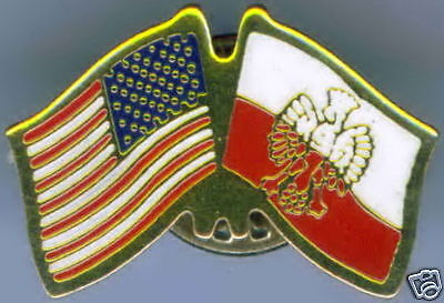 Poland with Seal / USA Dual Flag Lapel / Hat Pin NEW