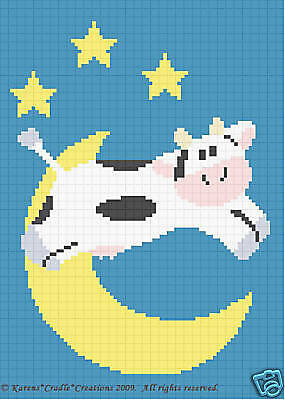 Crochet Graph Pattern- COW JUMPED OVER THE MOON *EASY*