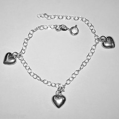5 pieces Sterling Silver 925 HEART Charm ANKLETS Wholesale Lot Made to your size