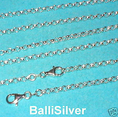 "3 pcs 24"" 60cm Sterling Silver 925 3.8mm ROUND ROLO BELCHER Chain Necklaces Lot"