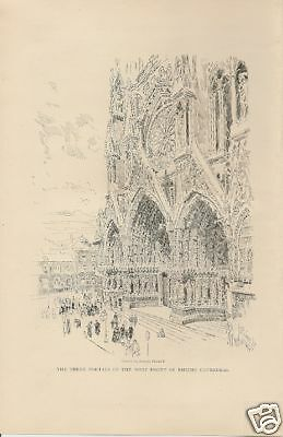 1907 Rheims Cathedral Notre Dame vintage article